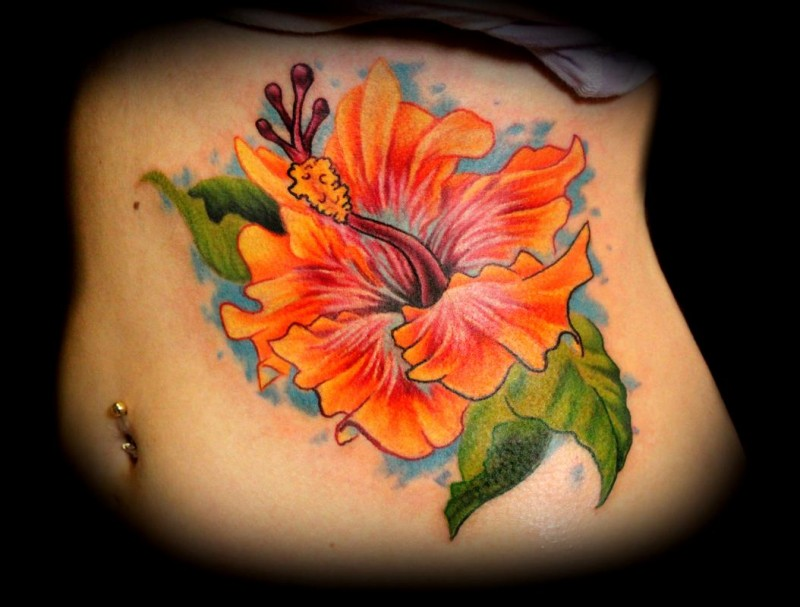 Realistic Flower Tattoos On The Right Forearm Tattoo: Realistic Orange Hibiscus Flower Tattoo On Ribs